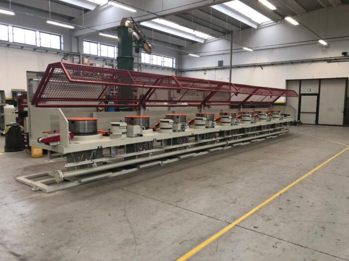 Second hand dry drawing line 8 steps, capstans diameter 600 mm (frigerio), completely revised mechanically, with new AC electrical equipment and motors to be installed according to the specifications requested by the customer.